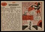 1957 Topps #17  Art Spinney  Back Thumbnail