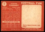 1958 Topps #7  Howard Cassady  Back Thumbnail