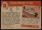 1954 Topps World on Wheels #71   Lincoln-Mercury XL-500 Back Thumbnail