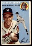 1954 Topps #20 WHT Warren Spahn  Front Thumbnail