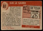 1954 Topps World on Wheels #87   GM Le Sabre Back Thumbnail