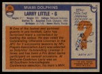 1976 Topps #33  Larry Little  Back Thumbnail