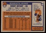 1976 Topps #11  Bobby Bryant  Back Thumbnail