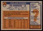 1976 Topps #76  Ted Hendricks  Back Thumbnail