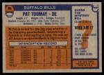 1976 Topps #94  Pat Toomay  Back Thumbnail