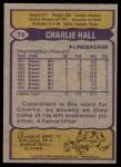 1979 Topps #73  Charlie Hall  Back Thumbnail