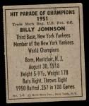 1951 Berk Ross #5 A Billy Johnson  Back Thumbnail