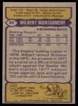1979 Topps #85  Wilbert Montgomery  Back Thumbnail