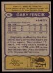 1979 Topps #92  Gary Fencik  Back Thumbnail
