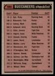 1980 Topps #282   Buccaneers Leaders Checklist Back Thumbnail