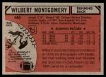 1980 Topps #440  Wilbert Montgomery  Back Thumbnail
