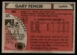 1980 Topps #380  Gary Fencik  Back Thumbnail