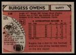 1980 Topps #238  Burgess Owens  Back Thumbnail