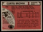 1980 Topps #443  Curtis Brown  Back Thumbnail
