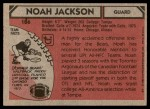 1980 Topps #186  Noah Jackson  Back Thumbnail