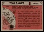 1980 Topps #148  Tom Banks  Back Thumbnail