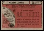 1980 Topps #211  Kevin Long  Back Thumbnail