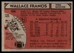 1980 Topps #258  Wallace Francis  Back Thumbnail