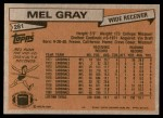 1981 Topps #281  Mel Gray  Back Thumbnail