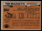 1981 Topps #513  Tim Mazzetti  Back Thumbnail