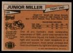 1981 Topps #180  Junior Miller  Back Thumbnail