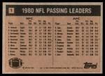 1981 Topps #1   -  Ron Jaworski / Brian Sipe Passing Leaders Back Thumbnail