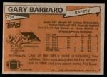 1981 Topps #130  Gary Barbaro  Back Thumbnail