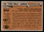 1981 Topps #185  Ed Too Tall Jones  Back Thumbnail