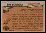 1981 Topps #330  Pat Donovan  Back Thumbnail