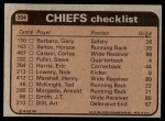 1981 Topps #394   -  Ted McKnight / Henry Marshall / Gary Barbaro / Art Still Chiefs Leaders & Checklist Back Thumbnail