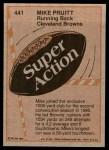 1981 Topps #441   -  Mike Pruitt Super Action Back Thumbnail