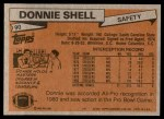 1981 Topps #90  Donnie Shell  Back Thumbnail