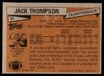 1981 Topps #81  Jack Thompson  Back Thumbnail