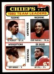 1981 Topps #394   -  Ted McKnight / Henry Marshall / Gary Barbaro / Art Still Chiefs Leaders & Checklist Front Thumbnail
