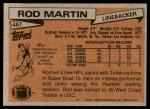 1981 Topps #487  Rod Martin  Back Thumbnail