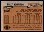 1981 Topps #518  Billy Johnson  Back Thumbnail