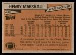 1981 Topps #412  Henry Marshall  Back Thumbnail