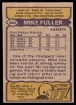 1979 Topps #254  Mike Fuller  Back Thumbnail