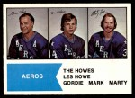 1974 O-Pee-Chee WHA #1   -  Gordie Howe / Mark Howe / Marty Howe The Howes Front Thumbnail