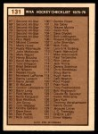 1975 O-Pee-Chee WHA #131   Checklist Back Thumbnail