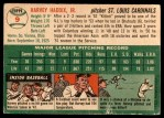 1954 Topps #9 WHT Harvey Haddix  Back Thumbnail