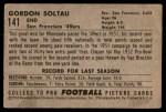 1952 Bowman Small #141  Gordon Soltau  Back Thumbnail