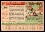 1955 Topps #116  Tom Hurd  Back Thumbnail