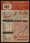 1953 Topps #187  Jim Fridley  Back Thumbnail
