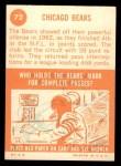 1963 Topps #72   Bears Team Back Thumbnail