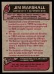 1977 Topps #105  Jim Marshall  Back Thumbnail