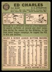 1967 Topps #182 BLU Ed Charles  Back Thumbnail