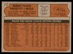 1972 Topps #273  Bobby Floyd  Back Thumbnail