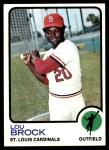1973 Topps #320  Lou Brock  Front Thumbnail