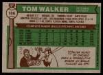 1976 Topps #186  Tom Walker  Back Thumbnail